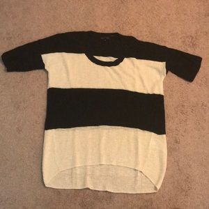 Black and Off White Striped Sweater